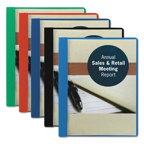 """Smead Products - Smead - Vinyl Report Cover, Tang Clip, Letter, 1/2"""" Capacity, Clear/Dark Blue, 25/Box - Sold As 1 Box - Allows full view of title page. - Attractive grained back cover. - Three fasteners hold 11 x 8-1/2 punched sheets."""