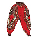 Traditional Print Harem Pants: Red