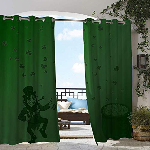 Linhomedecor Patio Waterproof Curtain Leprechaun St. Patricks Day Clover 9 doorways Grommets Backdrop Curtains 96 by 96 inch