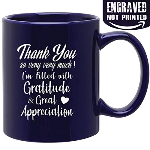 (Novelty ceramic Mug for saying Thank you so very very much ! 11oz cobalt Engraved Both Sides ceramic coffee mug, Gifts for Family, Friends,)
