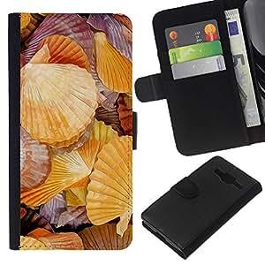KLONGSHOP // Tirón de la caja Cartera de cuero con ranuras para tarjetas - Romántica Biología Mar Mar - Samsung Galaxy Core Prime //