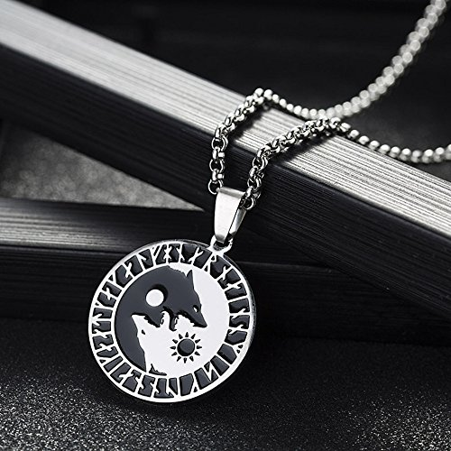 WereWolf Sun Moon Stainless Steel Norse Vikings Pendant Necklace Viking Amulet Pendant 55MM HANDMADE JEWELLERY 22 Inches