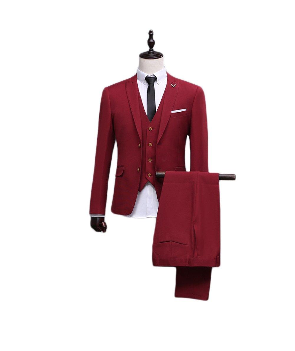 Love Dress Men's Modern Fit 3-Piece Suit Vest Jacket Tux & Trousers 5XL