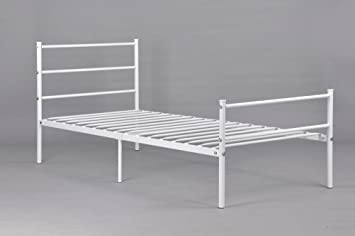 Metal Bed Frame Twin Size GreenForest Two Headboards 6 Legs Mattress  Foundation White Platform Bed
