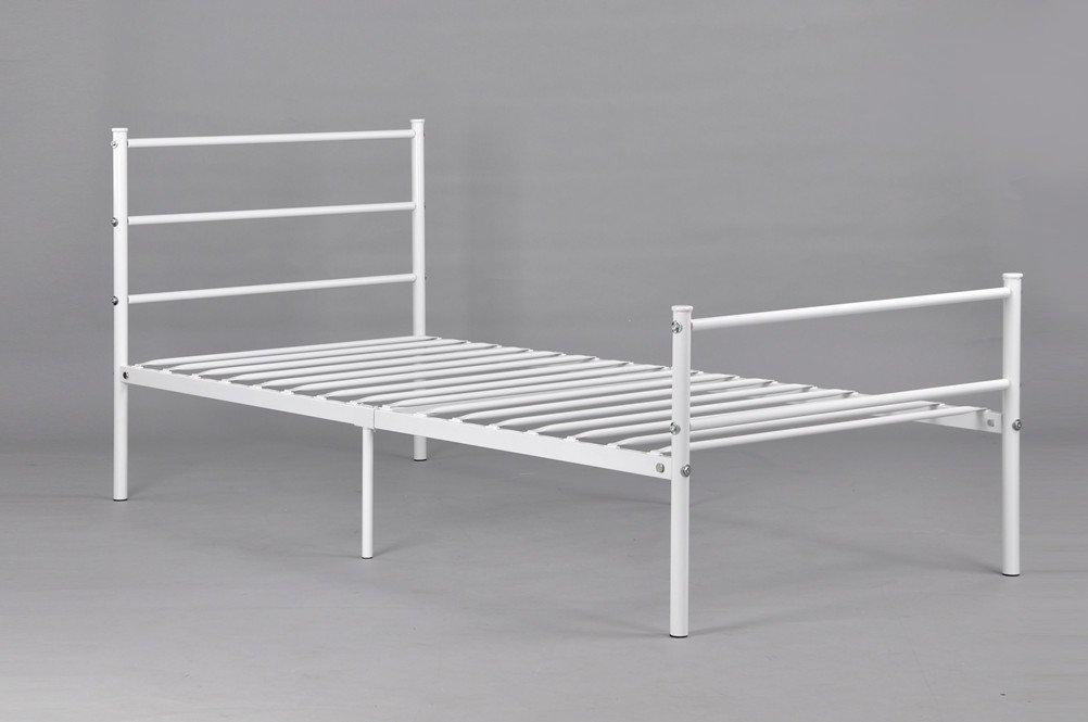 GreenForest Metal Bed Frame Twin Size, Two Headboards 6 Legs Mattress Foundation Black Platform Bed Frame Box Spring Replacement for Boys Kids Adult B,White