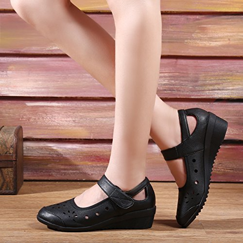 Abby 316 Womens Ballroom Rumba Latin Closed Round Toe Wedge Mid Heel Cozy Breathable Hollow Modern Mary Jane Dance Shoes Black wcp6e6ImdG