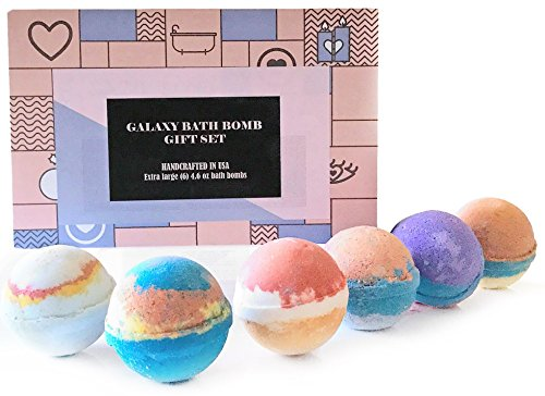 bMAKER Galaxy Bath Bomb Gift Set ! 6 Extra Large Colorful Ba