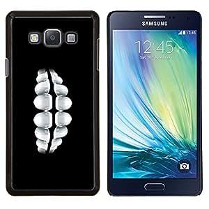 KLONGSHOP // Cubierta de piel con cierre a presión Shell trasero duro de goma Protección Caso - Dientes Sonrisa - Samsung Galaxy A7 A7000 //
