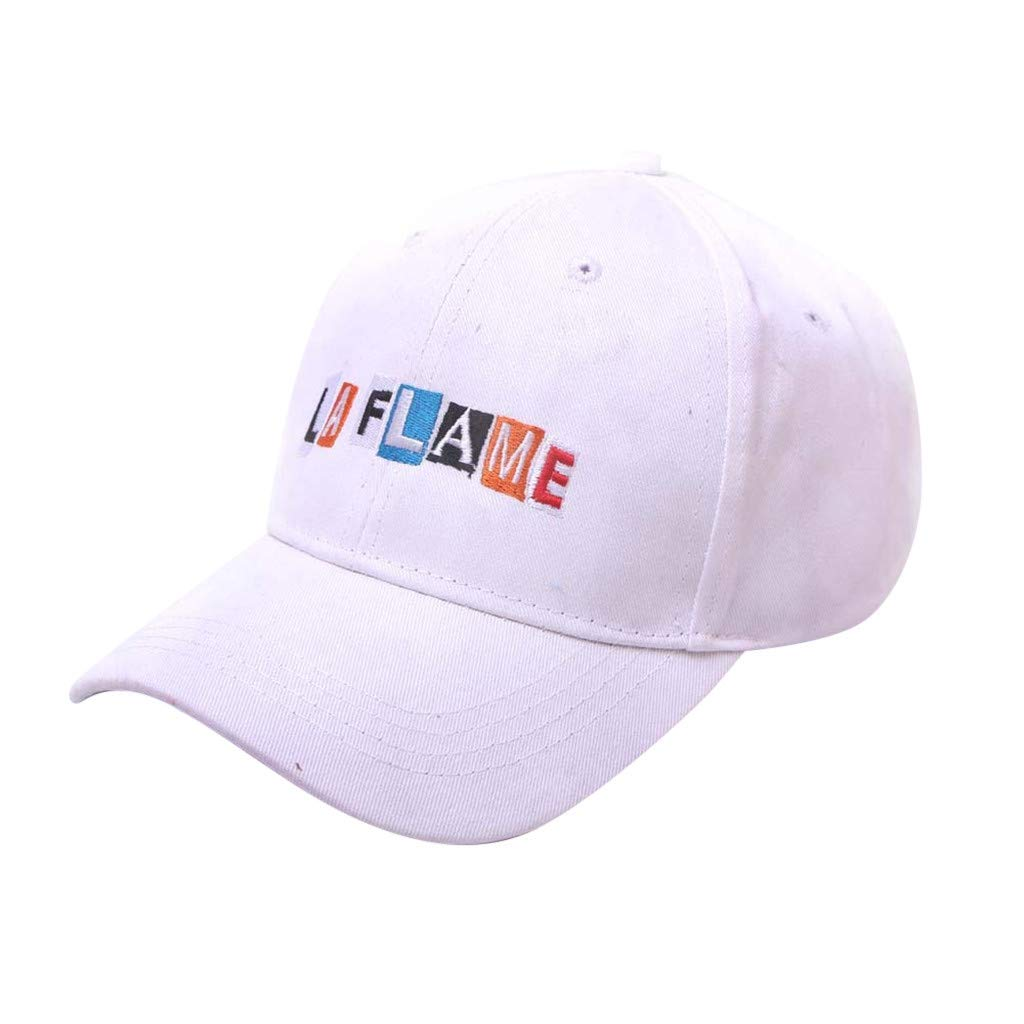 Tanlo Summer Unisex Womens Mans Cotton Hats Embroidered Baseball Caps Adjustable Dad Hats (White, Head:54-60cm/22.0-23.6'')