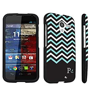Zheng case Motorola Moto X 2013 First Generation Hard Case Black - (Black Mint White Chevron P)