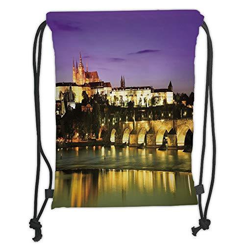 New Fashion Gym Drawstring Backpacks Bags,Travel Decor,Charles Bridge in Prague Czech Republic European Landmark Castle View Decorative,Purple Yellow Brown Soft Satin,Adjustable S -
