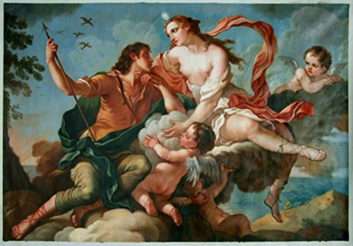 Adonis Painting - Venus and Adonis - Charles Joseph Natoire high quality hand-painted oil painting reproduction,living room wall classical religion art,nude woman figure
