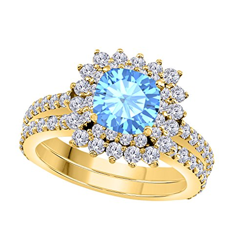 1.50 Ct Cushion & Round Cut Cteated Blue Topaz & Cubic Zirconia 14k Yellow Gold Over Starburst Design Wedding Engagement Ring Halo Bridal Sets Size 4 to 11 ()