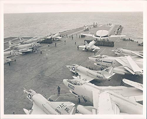 (Press Photo US Navy Aircraft Carrier Constellation Airplanes Vintage 8X10)