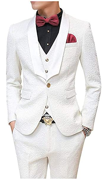 Amazon.com: New Fashion Color Blanco Patterned boda trajes ...