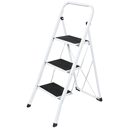Miraculous Vivo C White Foldable Kitchen Safety Ladder Step Non Slip Tread Folding Stepladder Fold 3 Step Gmtry Best Dining Table And Chair Ideas Images Gmtryco