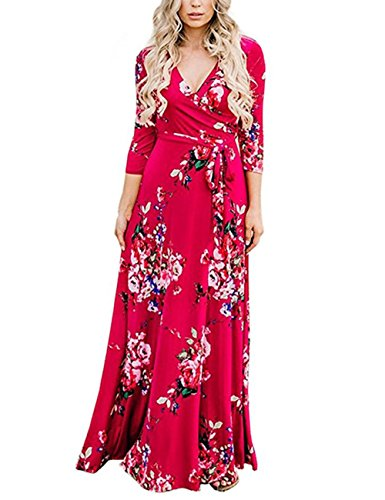 (Women's 3/4 Sleeve Faux Wrap V Neck Floral Vintage Long Maxi Dress Red)