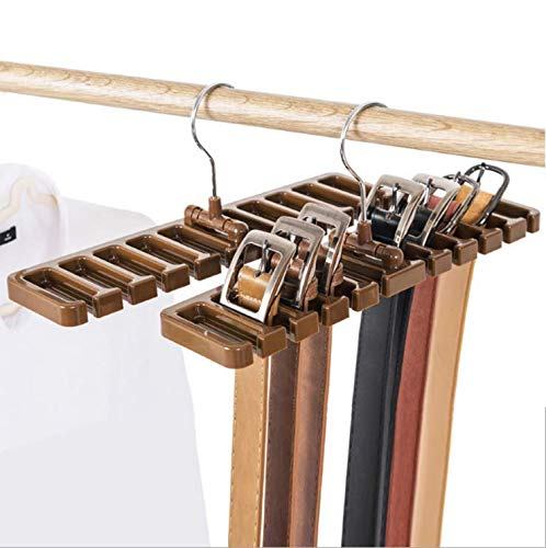 Hoocozi 2Pcs Belt Organizer Rack Tie Hangers Closet Scarf Holder, Holds 20 Belts(Brown) ()