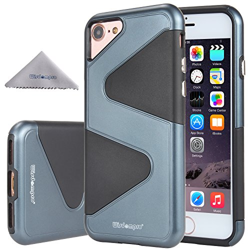 iPhone 7 Case, iPhone 8 Case, Wisdompro [Heavy Duty] 2 in 1 Hybrid Shockproof Protective 2-Layer Armor Case (Hard S-Line PC Shell + Soft TPU Inlay) for Apple iPhone 7/8 - Black/Navy Blue