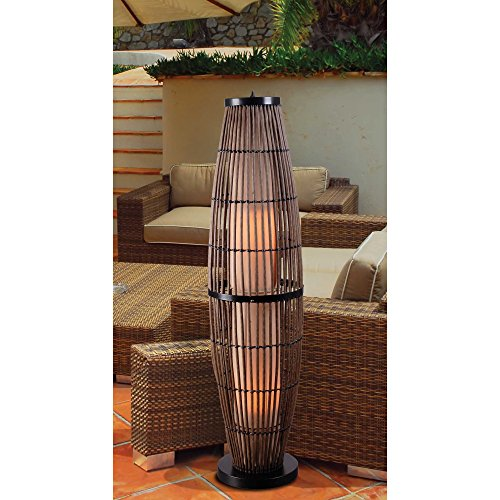 Kenroy Home 32248RAT Biscayne Outdoor Floor Lamp, Rattan Finish with Bronze Accents by Kenroy Home (Image #1)