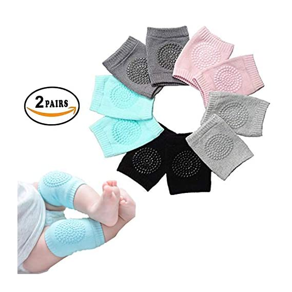 PETRICE Baby Knee Pads for Crawling, Anti-Slip Padded Stretchable Elastic Cotton Soft Breathable Comfortable Knee Cap