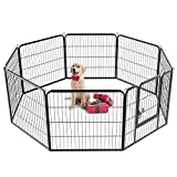 Yaheetech 32-inch 8 Panel Metal Dog Pen Playpen Foldable Play Yard Dog Puppy Cat Exercise Barrier Fence Pet Pen w/Door, Black Review