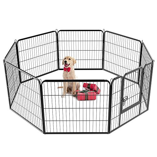 Yaheetech 32-inch 8 Panel Metal Dog Pen Playpen Foldable Play Yard Dog Puppy Cat Exercise Barrier Fence Pet Pen w/Door, Black from Yaheetech
