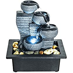 PeterIvan Tabletop Water Fountain - Relaxation Fountain with Illuminated LED Lights for Office, Living Room, Vacation House Decoration, Portable Tabletop Fountain with Submersible Pump (grey, 10inch)