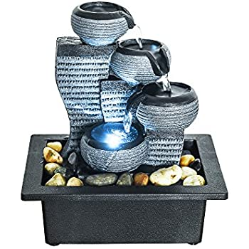 BBabe Desktop Waterfall Fountain Decor LED Illuminated Indoor Portable Waterfall Tabletop Fountains 10 1/5