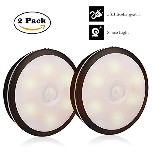 Led Night Light, GT ROAD 2 Pack Rechargeable Motion Senso...