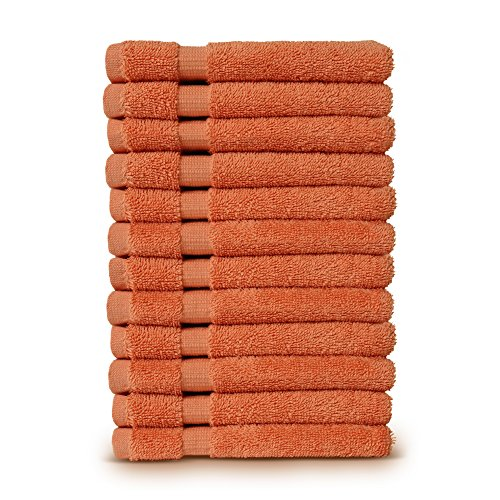 12-Piece Turkish Cotton Dobby Border Eco Friendly Face Towel/Washcloths Set by Turkuoise Turkish Towel (Coral) Coral Db Coral