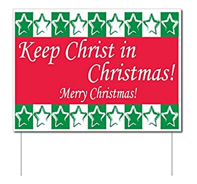 VICTORYSTORE.COM Keep Christ in Christmas Yard Sign (Green and Red) w/Stakes