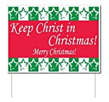 Keep Christ in Christmas Yard Sign (Green and Red) w/ Stakes (25)