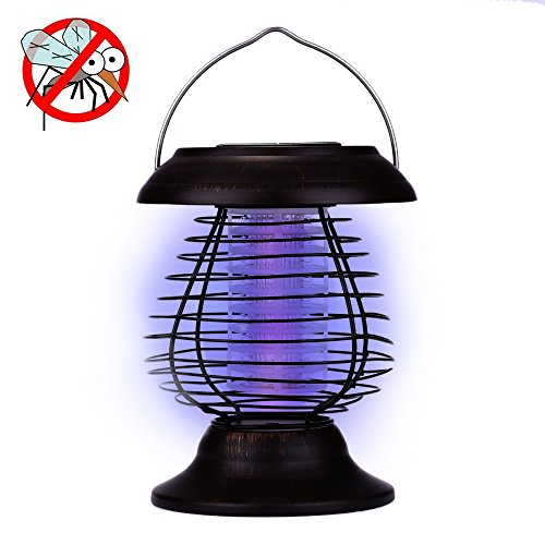 A-szcxtop Portable Anti-mosquito Light Solar Powered Outdoor Mosquito Fly Bug Insect Zapper Killer With Trap Lamp Ligh for Camping Traveling