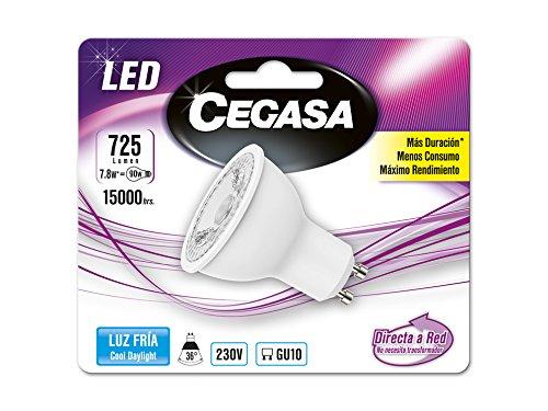 Cegasa Bombillas LED con Luz Fría 5000K GU10, 7.8 W, Blanco, 57x50x51 cm: Amazon.es: Iluminación