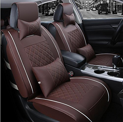 SEAT COVERS RUIRUI PU Leather Car Seat Cushions 5 seats Full Set-Universal Fit Car for Both Fabric and Leather Car Seats, Coffee: Sports & Outdoors