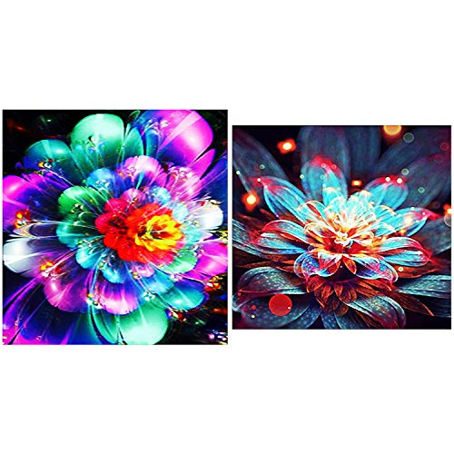 2 Pack 5D DIY Diamond Painting by Number Kits,for Multicolored Flowers (12X12inch) Shiny Flowers (12X12inch)