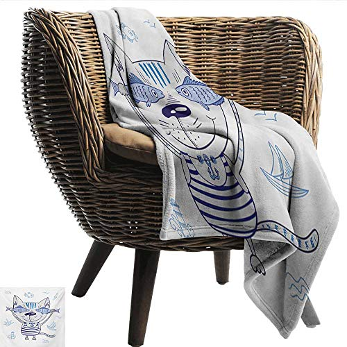 Fish Living Room/Bedroom Warm Blanket Naughty Cat with Fish in Striped T-Shirt Anchor Pendant and Nautical Maritime Sign Traveling,Hiking,Camping,Full Queen,TV,Cabin 50