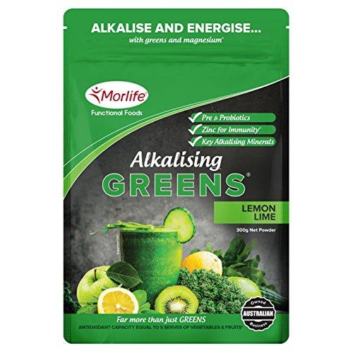 Morlife Alkalising Greens Lemon Lime 300g – 19 Super Greens, Fruits and Vegetables, Pre & Probiotics, Key Alkalising Minerals, Vegan, 30 Serves, Lemon Lime 300g