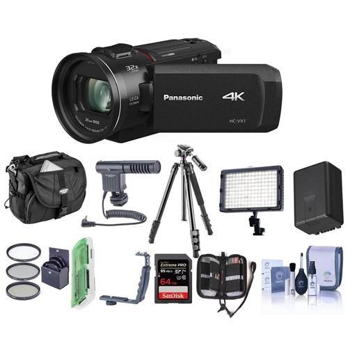 Panasonic HC-VX1K 4K Camcorder, 24x Leica Dicomar Lens, Bundle With Video Bag, 32GB SDHC Card, Spare Battery, Video Light, Shotgun Mic, Tripod, Cleaning Kit, Memory Wallet, 62mm Filter Kit And More (Panasonic Multiple Adapter)