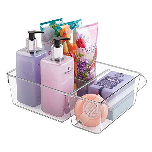 mDesign Bathroom Vanity Organizer Bin for Heath and Beauty  Products/Supplies, Lotion, Perfume - Divided, Clear