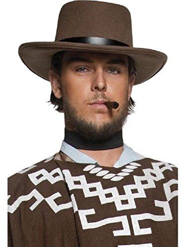 [Ponce Brown Gunslinger Hat Wool Feel Gun Slinger CowBoy Costume Gambler Mens] (Woman Gunslinger Costume)