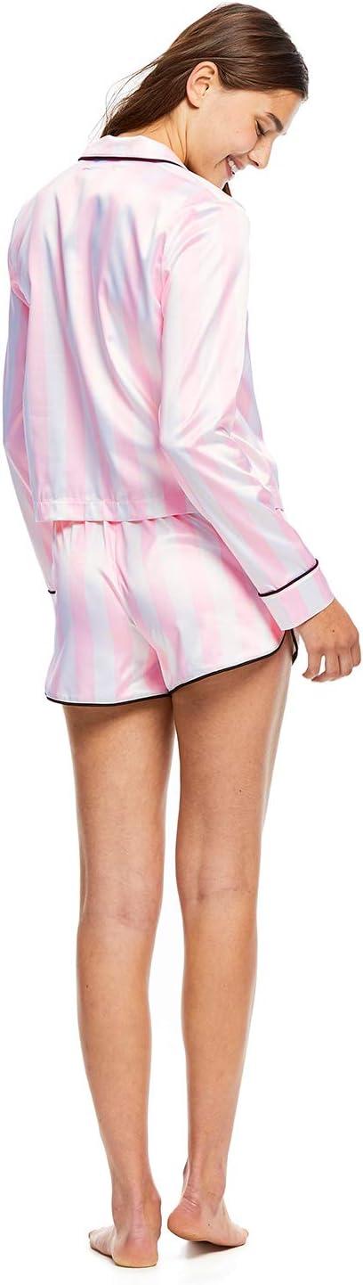 Sleep Riot Womens 2-Piece Satin Pajama Set Pink Top /& Shorts