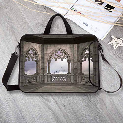Gothic Custom Neoprene Laptop Bag,Medieval Stone Balcony with Curvings Graphic Design Mystic Middle Age Legend Story Laptop Bag for Men Women Students,14.6