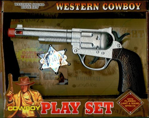 western cowboy pistol set with sheriff badge  real gun sound and light