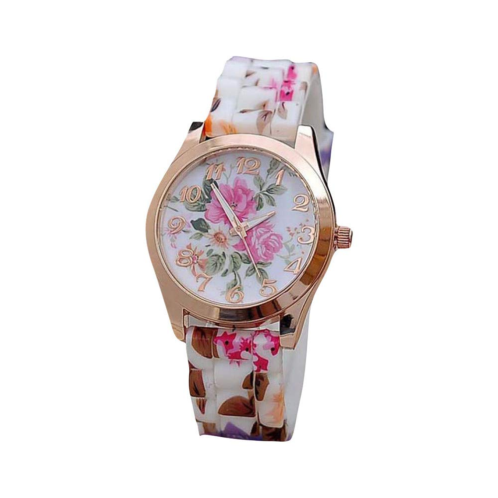 Zaidern Women Wrist Watch Womens Silicone Printed Flower Analog Quartz Classical Leather Watches Ladies Casual Simple Round Dial Leather Band Belt Wristwatch Luxury Business Retro Watches for Women