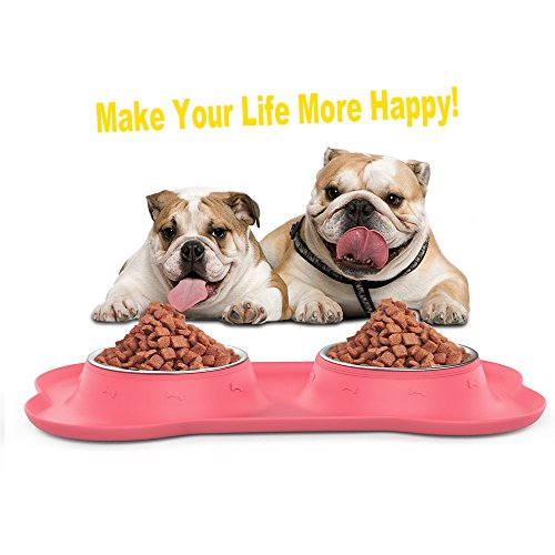 Double Dog bowls , Double Stainless Steel two 12 Oz Bowls with No Spill Non-skid Silicon Mat Feeder Puppy dishes for Dogs Cats and Small and Medium Pets (small, (Heated Dog Dish)