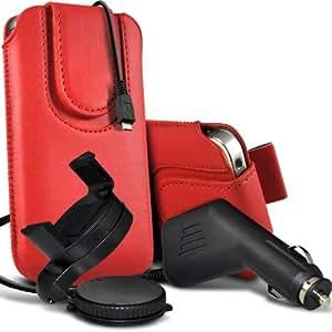 Nokia Lumia 510 premium protección PU botón magnético ficha de extracción Slip espinal en bolsa de la cubierta de piel de bolsillo rápido con 12v USB Micro Cargador para el coche y 360 Sostenedor giratorio del parabrisas del coche cuna Red por Spyrox