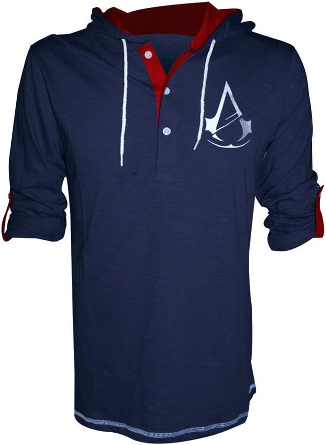 Assassins Creed Unity S Con logo sul petto Maglia a maniche lunghe con cappuccio Cotone