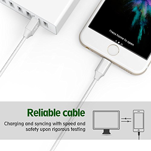 Lightning Cable,Airsspu Charger Cables 5Pack 3FT 3FT 6FT 6FT 10FT to USB Syncing Data and Nylon Braided Cord Charger for iPhone X/8/8Plus/7/7Plus/6/6Plus/6s/6sPlus/5/5s/5c/SE and more (Sliver&Gray) by Airsspu (Image #5)